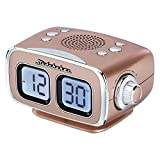 Large Display LCD AM/FM Retro Clock Radio USB Bluetooth Aux-in Bedroom Kitchen Counter Small Footprint SB3500 (Rose Gold)