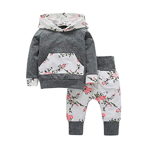 OSYARD Neugeborene Bekleidungssets Babykleidung,2 Stücke Kinder Baby Mädchen Jungen Kleidung Set Druck Hoodie Tops + Hosen Set Outfits,Unisex Hooded Pullover Sweatshirt Sweatjacken Pants Sweatanzüge