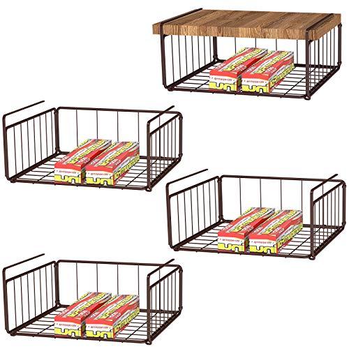 MILIJIA Under Shelf Basket 4 Pack Stackable Wire Storage Basket Hanging Storage Baskets for Pantry Shelf Cabinet Dark Brown