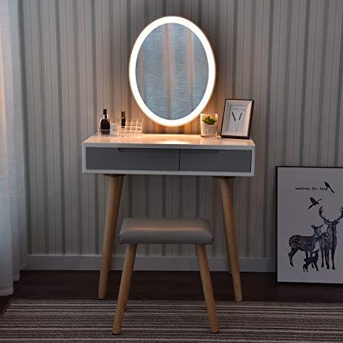 ARTETHYS Tocador Blanco con Luz LED Brillo Ajustable Espejo Mesa de Maquillaje Juego de Taburete Tocador Moderno Taburete Acolchado con Organizador de Maquillaje (Ovalado)