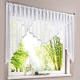 HongYa Kuvertstore transparenter Voile Gardine mit Satinbänder Kräuselband Vorhang H/B 120/450 cm Weiß