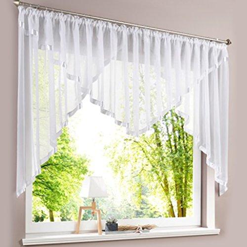 HongYa Kuvertstore transparenter Voile Gardine mit Satinbänder Kräuselband Vorhang H/B 145/450 cm Weiß