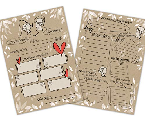 PICTALOO 55 Gästebuchkarten Hochzeit mit witzigen Fragen, Hochzeitsspiel für Brautpaar,...