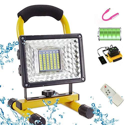 Faro Ricaricabile LED da Cantiere Portatile (400W 8000 Lumen) LED Proiettore da Cantiere con Telecomando,6 Modalità, Batteria Ricaricabile Integrata15600 mAh, USB Porta Ricarica Rapida e modalità SOS