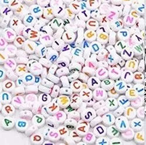 ub 1 bolsa / 100 unidades 6 mm letras del alfabeto colgantes para perlas para pulseras Loom Bands Color Blanco - Multicolor
