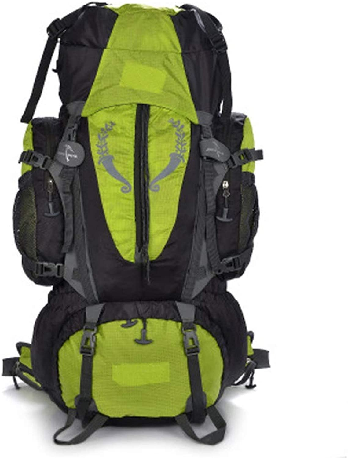 Men's Outdoor Sports Camping Waterproof Steel Frame Carrying 80L Large Capacity Mountaineering Bag Shoulder Travel Back (color   Green)