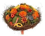 Flora Trans Getrockneter Blumenstrauss -Haltbare Energie- 2 getrocknete Rosen -