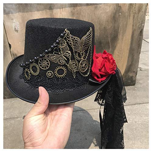 MMD-women's hat La Mode Taille 57CM Femmes Main Steampunk Haut Chapeau avec Metal Gear et Stage De Fleur Chapeau Magique Cosplay Chapeau Doux (Color : Black, Size : 57)