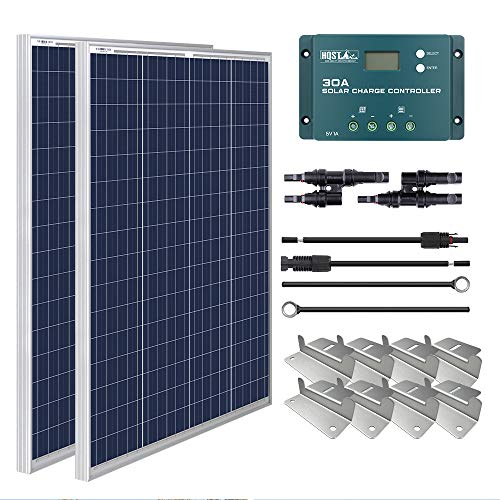 HQST 200W 12V Polycrystalline Solar Panel Kit...