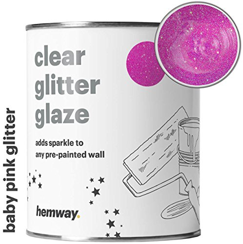 Hemway 1L Clear Glitter Paint Glaze for Pre-Painted Walls Acrylic, Latex, Emulsion, Ceiling, Wood, Varnish, Dead Flat, Matte, Soft Sheen or Silk (34 Variations) (Baby Pink)