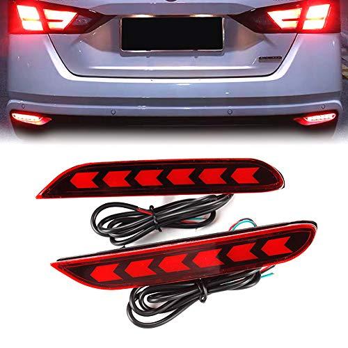 PGONE Red LED Rear Bumper Reflectors Fog Brake Tail Light Lamps Accessories Kit for Nissan Altima Sedan,Rogue,Rogue Sport,Infiniti Q50 Q70 Etc