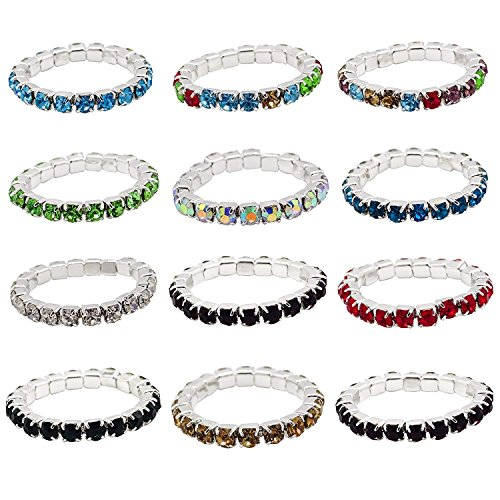 ZAKIA 12pcs Elastic Crystal Toe Ring Mixed Color Wholesale Lot Body Jewelry Pack (Mixed Colors)