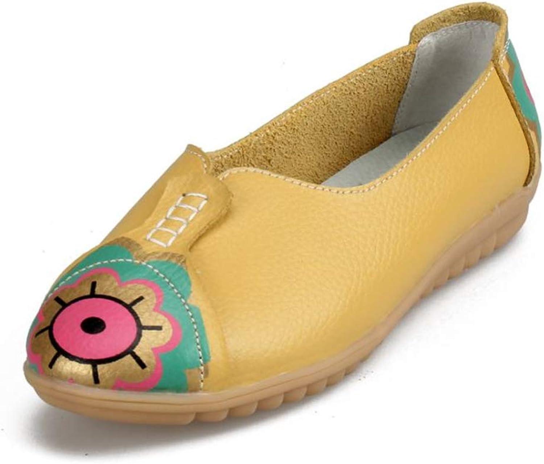 BeautyOriginal Women's Leather Flower Flats Slip On Walking shoes