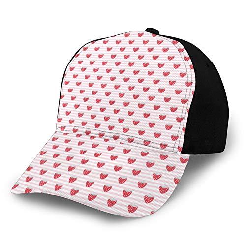 Gorra de béisbol lisa lavada, bonito patrón de niña con sabrosas frutas en las rayas, retro ajustable, regalo para hombres y mujeres