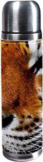MUMIMI Botella de Agua de Acero Inoxidable aislada al vacío, 17 onzas, para Deportes, café, Viaje, Termo, Termo, Cuero Genuino, sin BPA, Wild King of Forest Animal Tiger