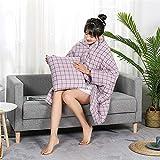 Edredón de Almohada Multifuncional Washed tela escocesa del algodón almohada edredón de algodón de doble uso sencillo Algodón multifuncional usable Cojín edredón para viajes en Coche Familiar al aire