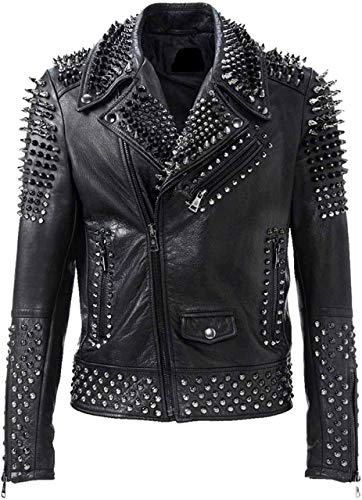 Leatheromatic's Brando Biker Rock Punk Spike Studded Motorcycle Leather Jacket for Men Black Genuine Leather