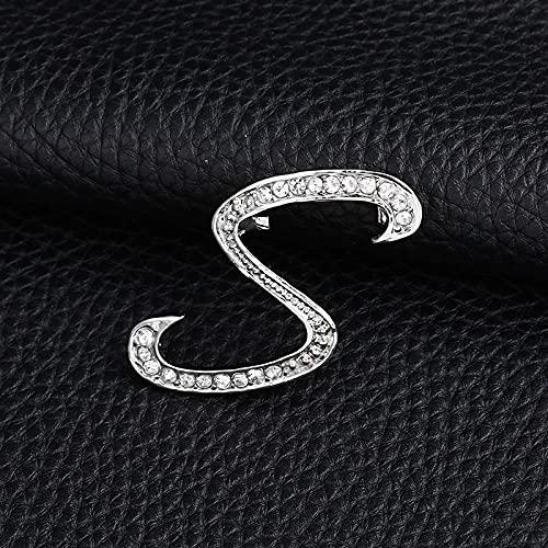 JJZXT Carta de la Moda Broche Lindo para Las Mujeres Hombres Rhinestones Color de Plata Pines Metal Pins Camisa Accesorios de joyería (Color : S)