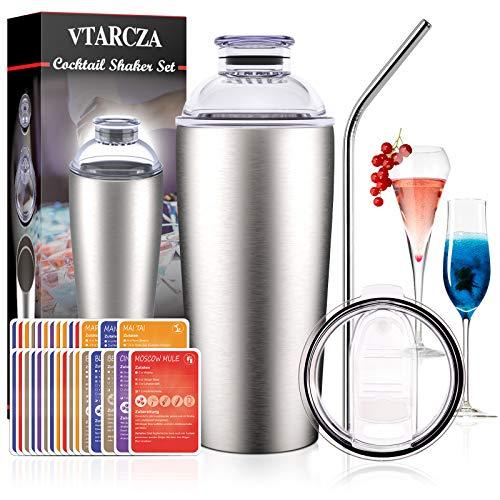 VTARCZA Cocktail Shaker Set, Cocktail Set Geschenk 700ML Edelstahl Cocktail Bar Set Cocktails Mixer Boston Shaker mit Edelstahlstroh, 30 Stck Rezeptkarte Bar Zubehör für Zuhause oder die Bar