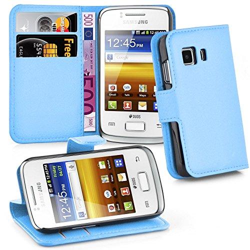 Cadorabo Hülle für Samsung Galaxy Young 2 - Hülle in Pastel BLAU – Handyhülle mit Kartenfach und Standfunktion - Case Cover Schutzhülle Etui Tasche Book Klapp Style