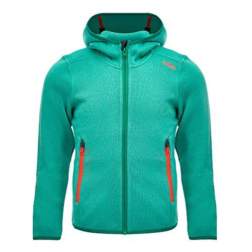 CMP – F.LLI Campagnolo Mädchen Knit Tech Polyester-Strickfleecejacke mit Kapuze Fleecejacke, Acqua-Emerald, 140