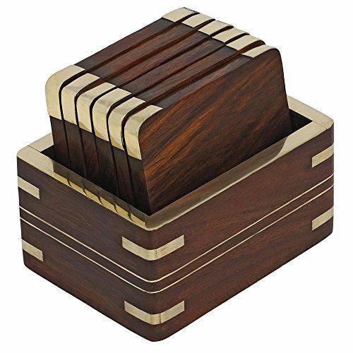 Shalinindia Holz Tee Untersetzer und Halter Set mit goldenen Messing-Dekoration