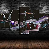 72Tdfc - Cuadros Decoracion Salon Modernos 5 Piezas Lienzo Grandes XXL Murales Pared Hogar Pasillo Decor Arte Pared Foto Innovador Regalo Batería Set Kit Instrumento Musical