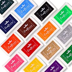 PMLAND Set of 15 Stamp Ink Pads for DIY Craft Stamp on Paper Wood or Fabric - 15 Vibrant Colors Included