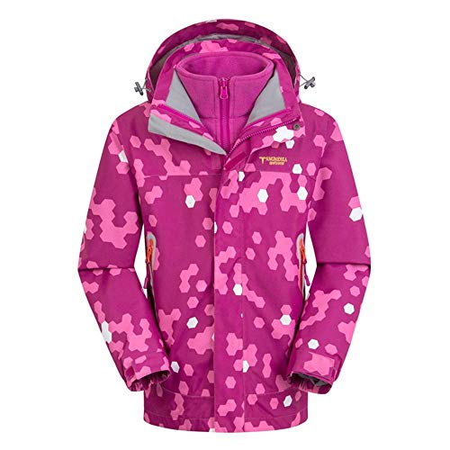 Schneeanzug Kinder 2 in 1 Winddicht wasserdicht Dicke Fleece warme Kapuze Schneeanzug Ski Down Jacke Jungen Mädchen und Kinder (Farbe : Rot, Größe : 140cm)