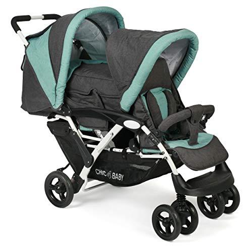 CHIC 4 BABY - Geschwisterwagen DUO mit Tragetasche, Geschwister-Kinderwagen für zwei Kinder, Melange anthrazit-mint, grau