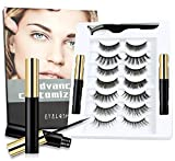 7 Pairs 3D 6D Magnetic Eyelashes with Eyeliner Kit, 2 Tubes of Magnetic Eyeliner Natural Look Reusable False Lashes Set - No Glue Need