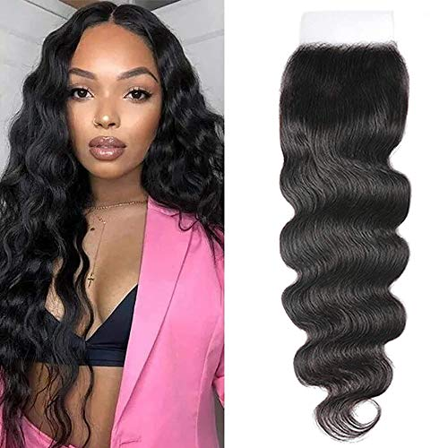 UNice Hair HD 5x5 Lace Closure Deep Parting Brazilian Body Wave Invisible Knots, 100% Human Hair Transparent Lace Closure Pre Plucked Natural Color 14inch