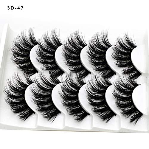 5 Pairs Faux 3D Handmade Chemical Fiber False Eyelashes Makeup Thick Long Multilayer Fluffy ,Pure Hand-made Thick Long Voluminous Fake Lashes