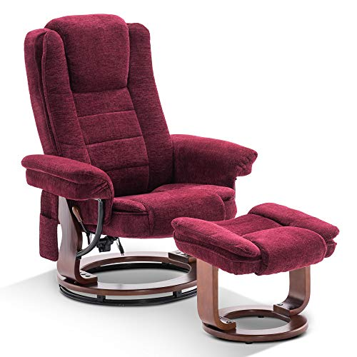 Mcombo Recliner Chair with Ottoman, Fabric Accent Chair with Vibration Massage, Swivel Chair with Wood Base, for Living Reading Room Bedroom, 9099 (Burgundy)