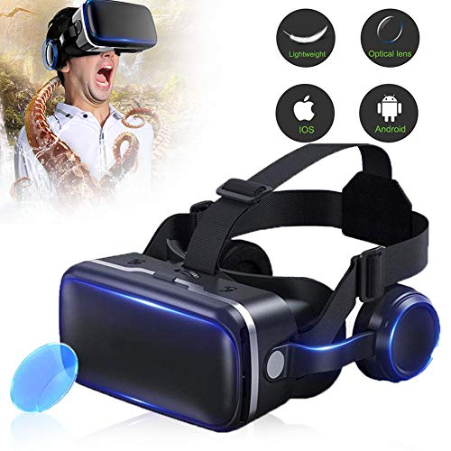 HUA JIE Virtual Reality Headset, 3D VR Glasses for Mobile Games and Movies, Compatible 4-6.3 inch for iPhone/Android Phone, Including XS/X/8/7 Most models, for Kids & Adults,Black
