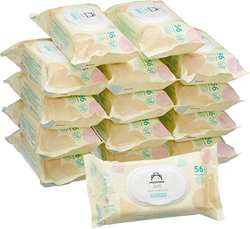 Marca Amazon - Mama Bear Soft Toallitas húmedas para bebé - 15 Paquetes (840 Toallitas)