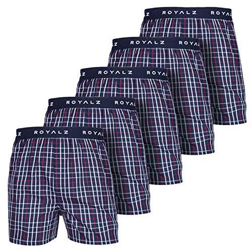 ROYALZ 5er Pack Boxershorts American Style für Herren Männer Unterhosen Kariert Blau klassisch 5 Set Jungen Unterwäsche weit, Farbe:Dunkelblau Kariert, Größe:M