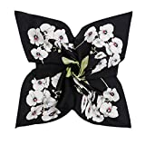 DAMILY Orchidées Imprimer Petit Foulards En Satin Carré Pour Femmes Élégant Bandana Hijab Wrap Châle (Noir)