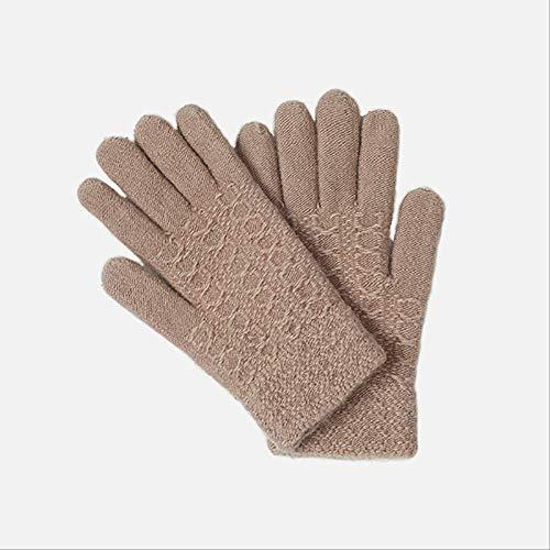 AMZIJ GlovesWomen Knitted Gloves Winter Female Handschuh Ladies Thicken Warm Wool Solid Gloves Herbstfrauen Rabbit Fur Soft Mitten Freie Größe Skin pink