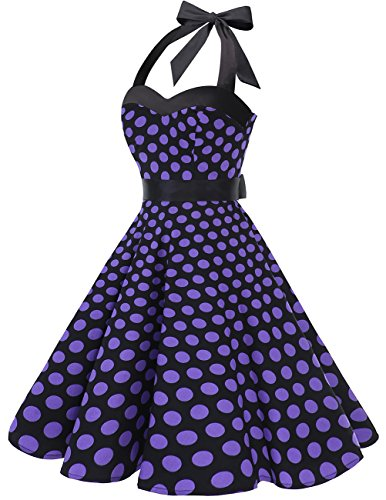 Dresstells DRESSTELLS Neckholder Rockabilly 1950er Polka Dots Punkte Vintage Retro Cocktailkleid Petticoat Faltenrock Black Purple Dot L