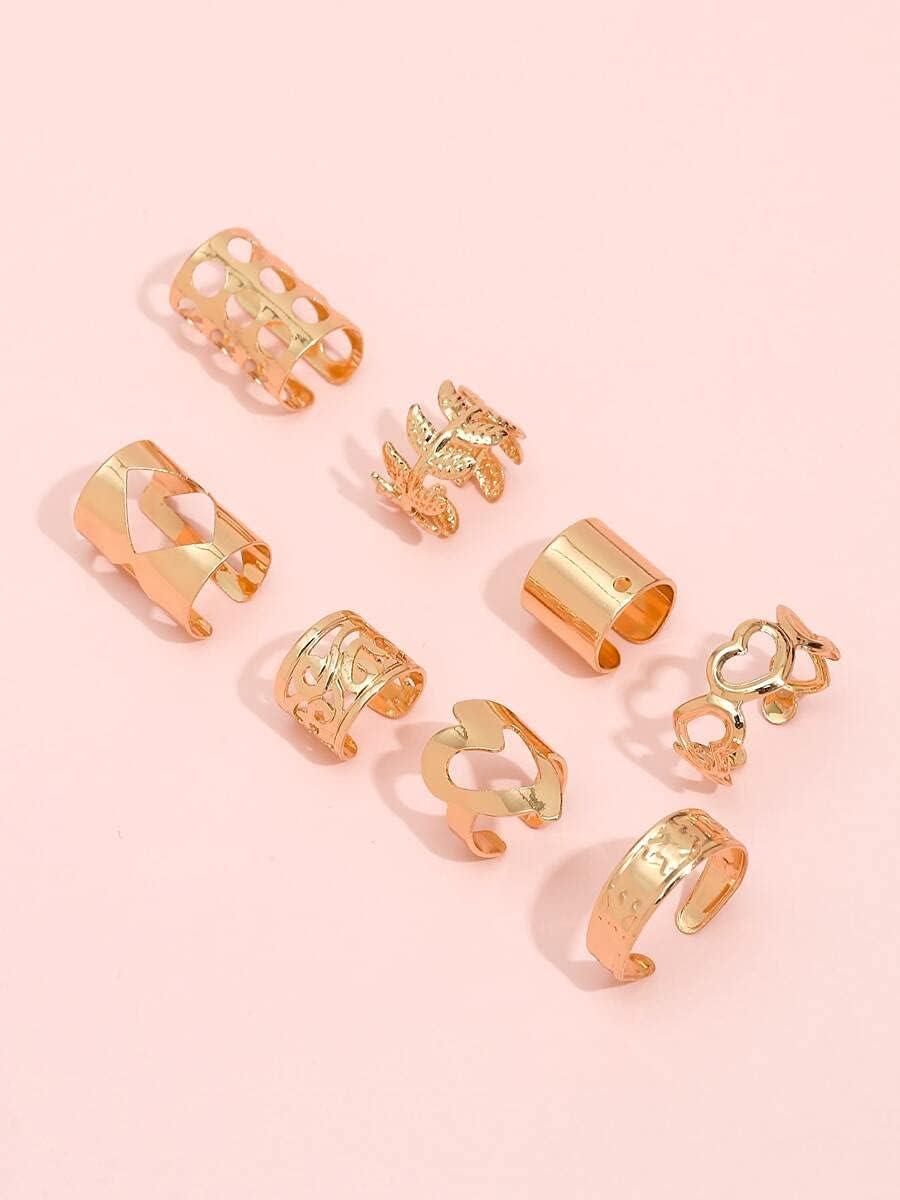 FYJIDY Hoop Earrings 8pcs Heart & Leaf Design Ear Cuff (Color : Gold)