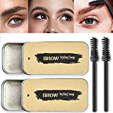 2 Pcs Brow Shaping Soap Augenbrauenseife Browly Eyebrow Soap Kit Brown Augenbrauen Gel...