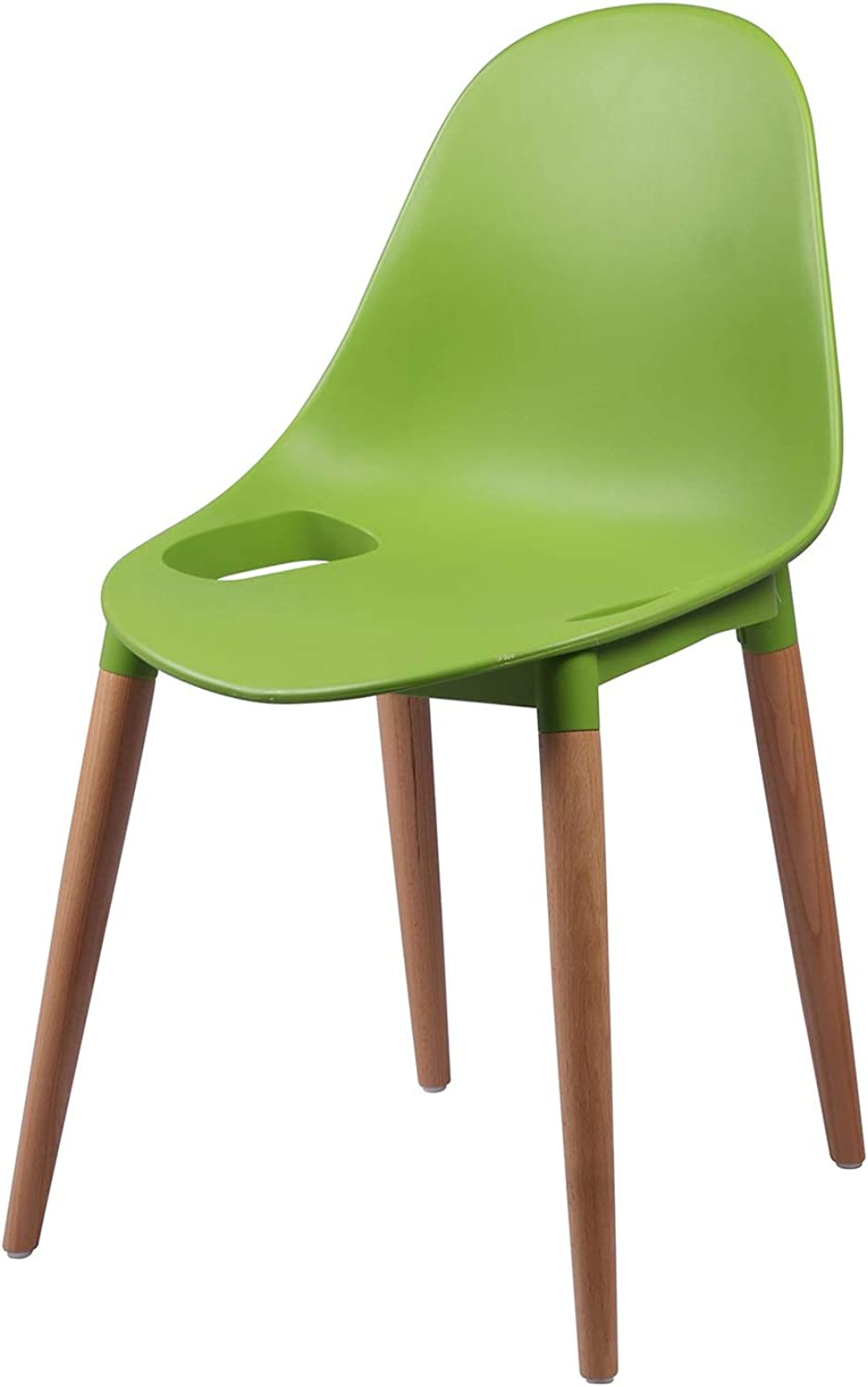 LRW Plastic Backrest Chair, Adult Leisure Chair, Solid Wood Office Chair, Creative Conference Chair, Green