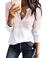 Womens V Neck Shirts Long Sleeve Waffle Knit Loose Fitting Warm Tee Tops (Large, White&Pink)