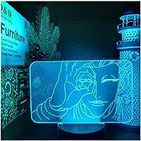 3Dイリュージョンナイトライト 漫画アニメキャラクター スマートタッチ LED3Dキッズおもちゃベビースリープデスクランプ寝室の装飾ベッドサイドスマートタッチ7色変化する調光可能、女の子の男の子のための最高のおもちゃの誕生日