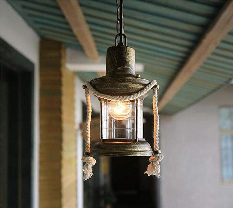BYDXZ Pendelleuchte Retro Hngelampe E27 1 Licht Deckenbeleuchtung für Esszimmer Küche Wohnzimmer Eisen Hanfseil Glas Lampe, A