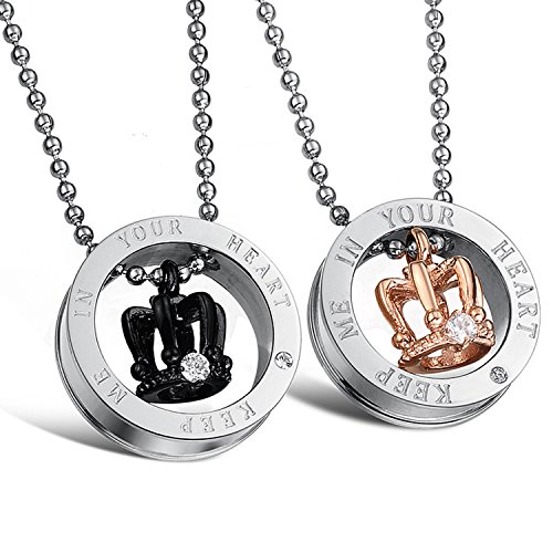 U365 Matching Couples Necklace Titanium Stainless Steel His Queen Her King Couple Crown Pendant Set for Men Women with 22 inches Ball Chain