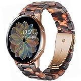 Miimall Correa de Resina Compatible con Samsung Galaxy Watch 3 41mm / Galaxy Watch Active 2 44mm /40mm,Correa con Hebilla de Acero Inoxidable Plegada 20 mm Banda Reloj de Repuesto