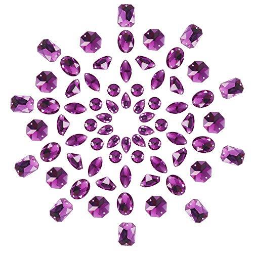PandaHall Elite 70 Piezas de acrílico cosen en Rhinestone Tallado Flatback Crystal Botones Gemas 7 Estilos para la Ropa Vestido de Boda decoración púrpura