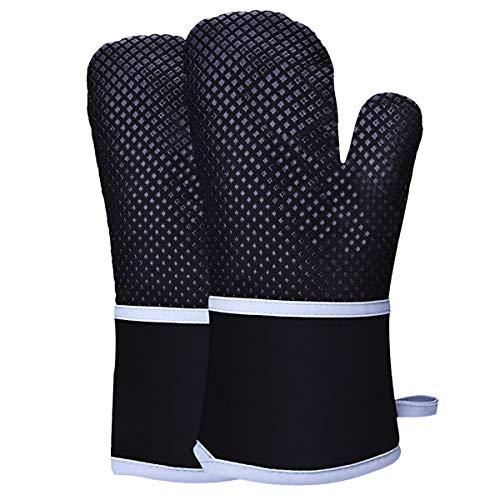 HelloCreate guanti da forno in silicone resistente al calore, guanti da forno antiscivolo con fodera in cotone, guanti da forno a microonde per cucinare, barbecue, forno a microonde, zuppa